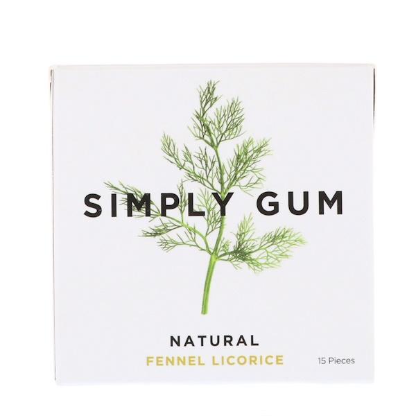 Simply Gum, 口香糖,天然茴香甘草,15片