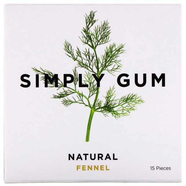 Simply Gum, Gum, Natural Fennel, 15 Pieces (Discontinued Item)