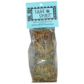 Sage Spirit, Native America Incense, Sage & Lavender, Small (4-5 inches), 1 Smudge Wand