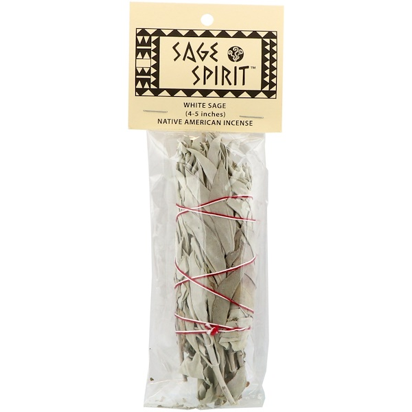 Sage Spirit, Native American Incense, White Sage, Small (4-5 Inches), 1 Smudge Wand