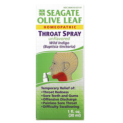 Seagate, 橄欖葉潤喉噴霧,原味,1 液量盎司(30 毫升)