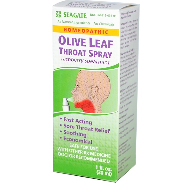 Olive Leaf Throat Spray, Raspberry Spearmint, 1 fl oz (30 ml)