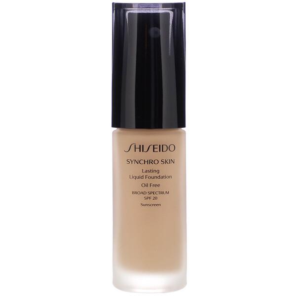 Shiseido, Synchro Skin, Lasting Liquid Foundation, SPF 20, Neutral 4, 1 fl oz (30 ml) (Discontinued Item)