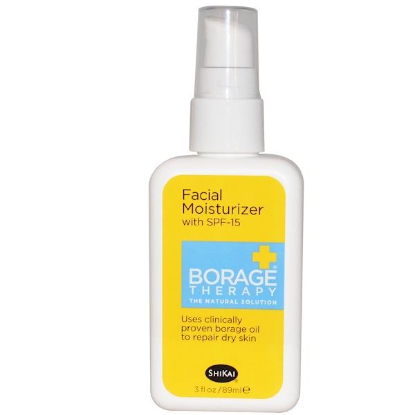 Shikai, Borage Therapy, Facial Moisturizer with SPF-15, 3 fl oz (89 ml) (Discontinued Item)