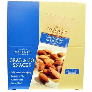 Sahale Snacks, Tostadas en seco, almendras de california + sal del mar, 9 paquetes, 1.5 oz (42.5 g) cada uno