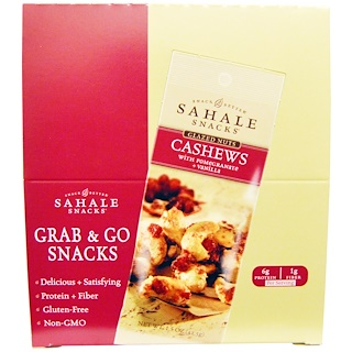 Sahale Snacks, Glazed Nuts, Cashews with Pomegranate + Vanilla, 9 Packs, 1.5 oz (42.5 g) Each
