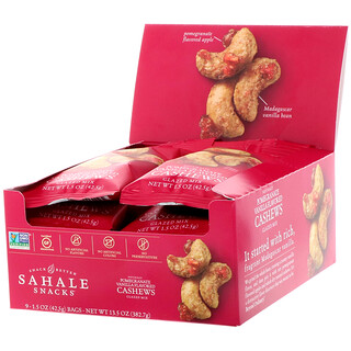 Sahale Snacks, Pomegranate Vanilla Flavored Cashews, Glazed Mix, 9 Packs, 1.5 oz (42.5 g) Each