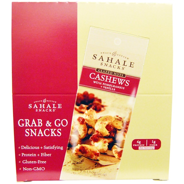 Sahale Snacks, Glazed Nuts, Cashews with Pomegranate + Vanilla, 9 Packs, 1、5 oz (42、5 g) Each