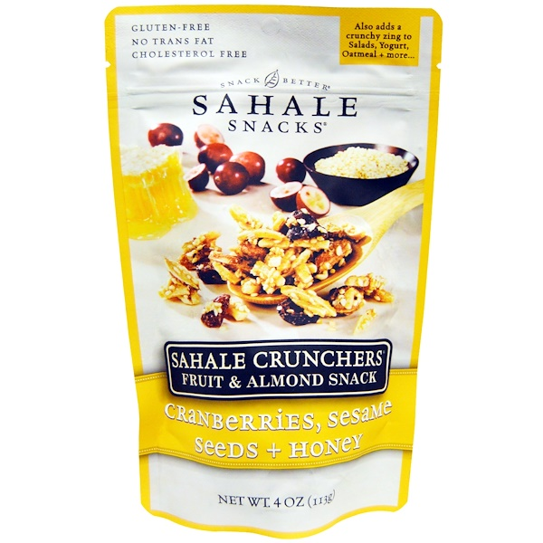 Sahale Snacks, Sahale Crunchers, Fruit & Almond Snack, Cranberries, Sesame Seeds + Honey, 4 oz (113 g) (Discontinued Item)