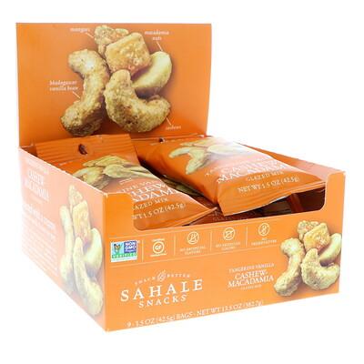 Sahale Snacks Глазированная смесь, мандарин, ваниль, кешью и макадамия, 9пакетиков, 42, 5 г (1, 5унции) каждый  - купить со скидкой