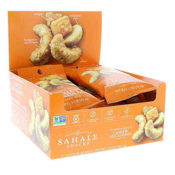 Sahale Snacks, Glazed Mix, Tangerine Vanilla Cashew-Macadamia, 9 Packs, 1.5 oz (42.5 g) Each