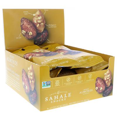 Купить Sahale Snacks Глазированная смесь, миндаль в меде, 9 пакетиков, 1, 5 унции (42, 5 г) каждый