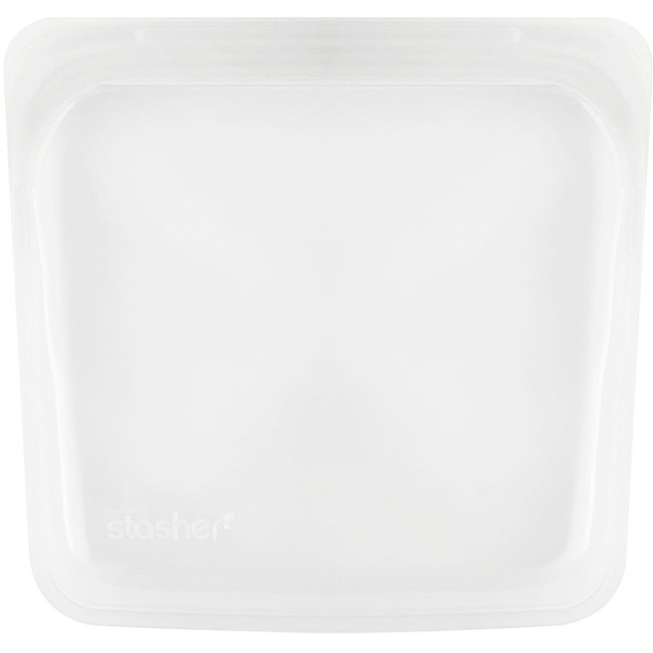 Reusable Silicone Food Bag, Sandwich Size Medium, Clear, 15 fl oz (450 ml)