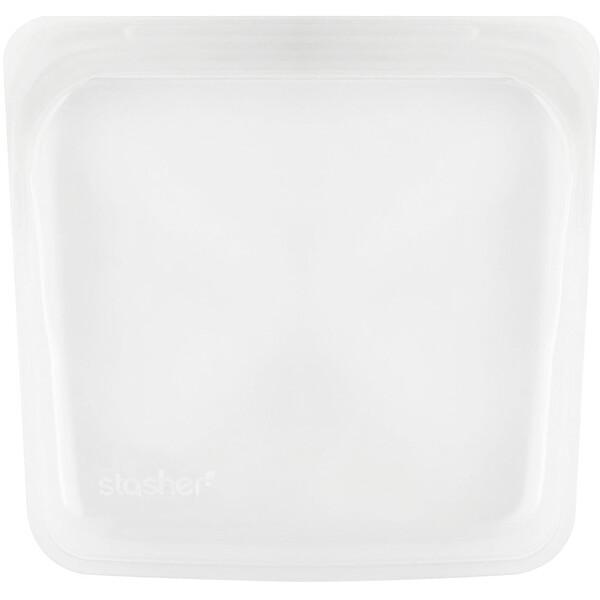 Stasher, リユーザブルシリコンフードバッグ, サンドウィッチサイズ(中サイズ), クリア, 450ml(15 fl oz)