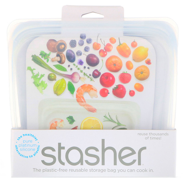 Stasher, Reusable Silicone Food Bag, Sandwich Size Medium, Clear, 15 fl oz (450 ml)