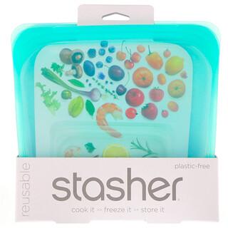 Stasher, Bolsa de silicona para alimentos, reutilizable, tamaño sándwich mediano, aqua, 15 ozlíq. (450 ml)