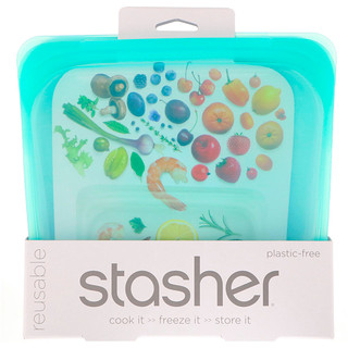 Stasher, Reusable Silicone Food Bag, Sandwich Size Medium, Aqua, 15 fl oz (450 ml)