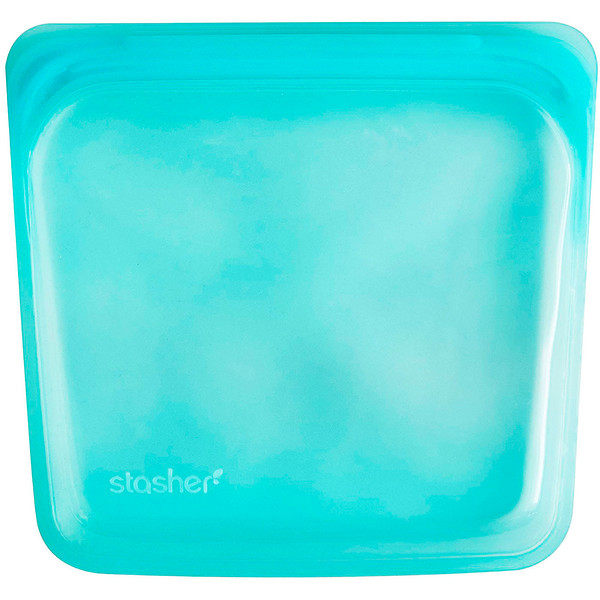 Reusable Silicone Food Bag, Sandwich Size Medium, Aqua, 15 fl oz (450 ml)