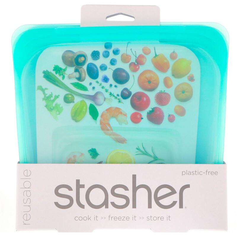 Stasher, 可重複使用矽樹脂食品袋,三明治大小,中號,淺綠色,15液體盎司(450毫升)