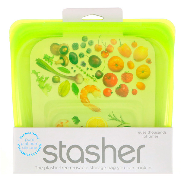 Stasher, حقيبة غذاء سيليكون قابلة لإعادة الاستخدام، حجم ساندويتش وسط، ليموني، 15 أوقية سائلة (450 مل)