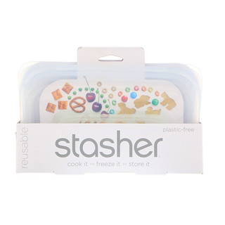 Stasher, Reusable Silicone Food Bag, Snack Size Small, Clear, 9.9 fl oz (293.5 ml)