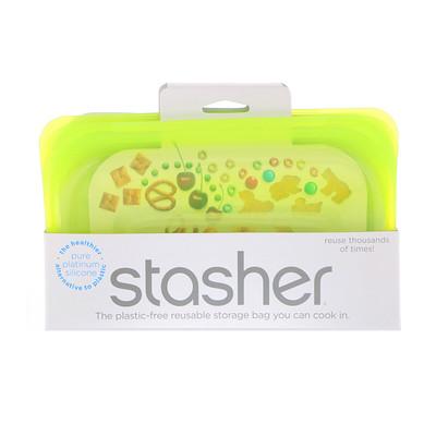Купить Stasher Многоразовый силиконовый пищевой контейнер, для малых размеров, цвет лайма, 9, 9 ж. унц. (293, 5 мл)