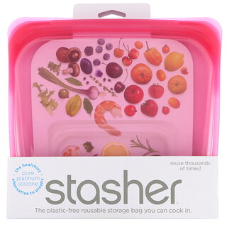 Stasher, Bolsa de silicona reutilizable para alimentos, Tamaño para emparedado, Mediana, Frambuesa, 450ml (15oz.líq.)