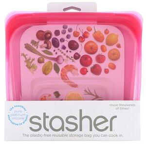 Stasher, Reusable Silicone Food Bag, Sandwich Size Medium, Raspberry, 15 fl oz (450 ml) отзывы