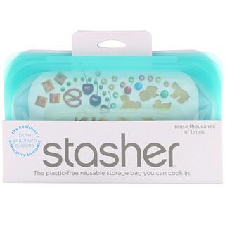Stasher, Reusable Silicone Food Bag, Snack Size Small, Aqua, 9.9 fl oz (293.5 ml)