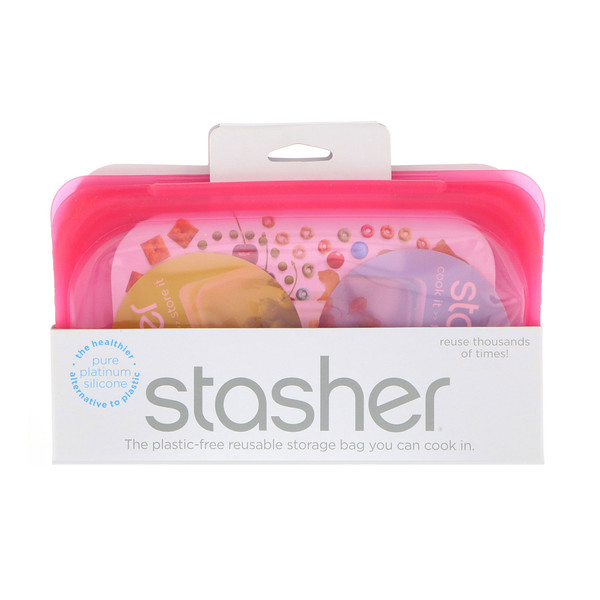Stasher, Reusable Silicone Food Bag, Snack Size Small, Raspberry, 9.9 fl oz (293.5 ml)