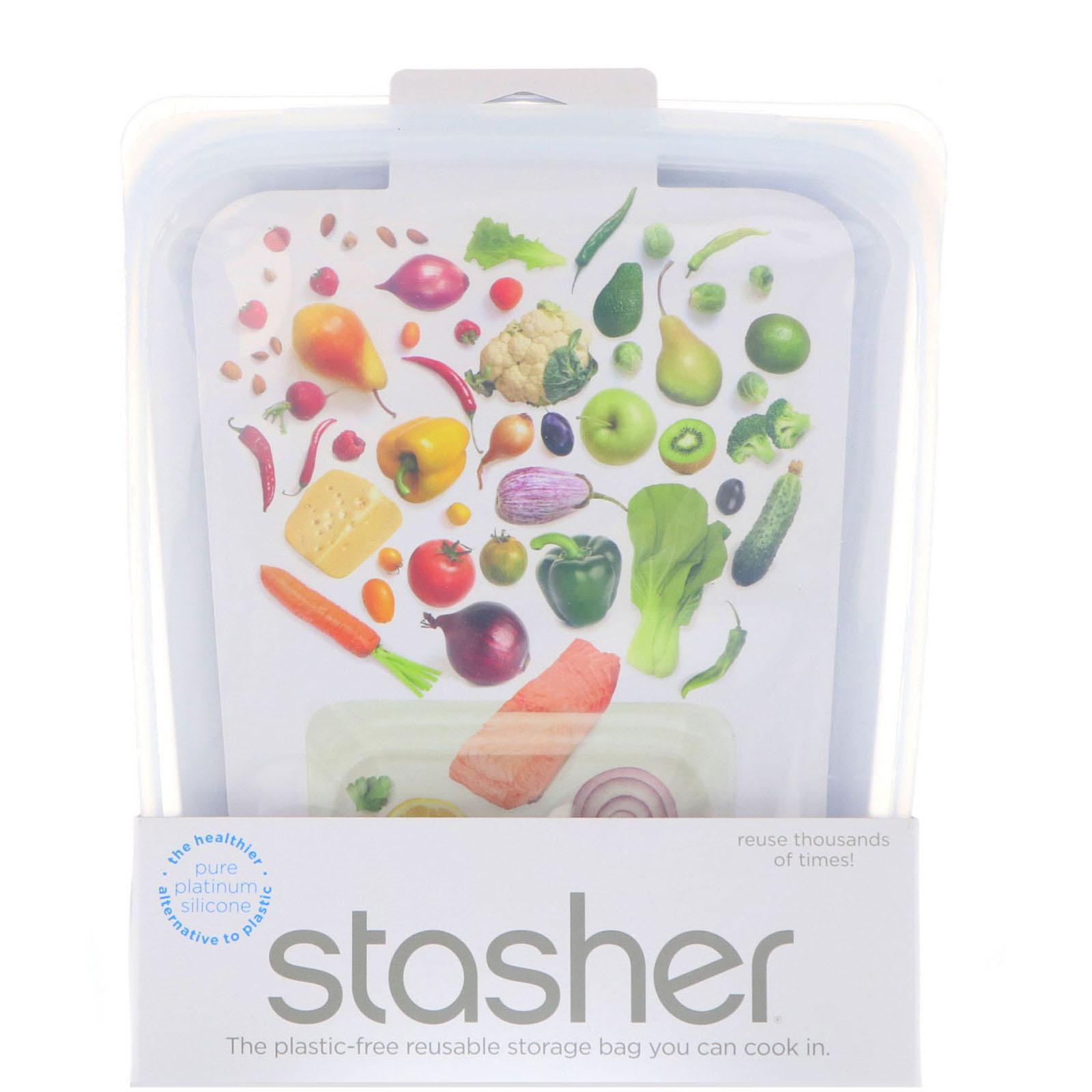 3bf2f96e67fec Stasher, Reusable Silicone Food Bag, Half Gallon Bag, Clear, 64.2 fl ...