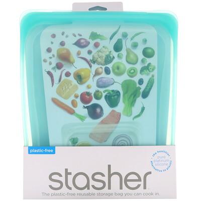 Купить Stasher Многоразовый силиконовый контейнер для еды, объем в полгаллона, голубой, 1, 92л (64, 2жидк.унции)