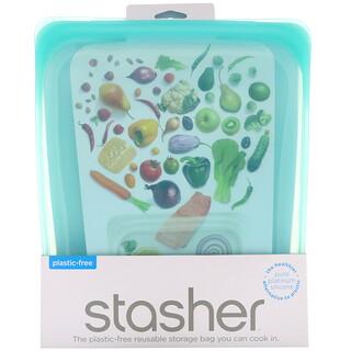 Stasher, Reusable Silicone Food Bag, Half Gallon Bag, Aqua, 64.2 fl oz (1.92 l)