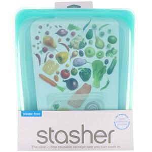 Stasher, Reusable Silicone Food Bag, Half Gallon Bag, Aqua, 64.2 fl oz (1.92 l) отзывы