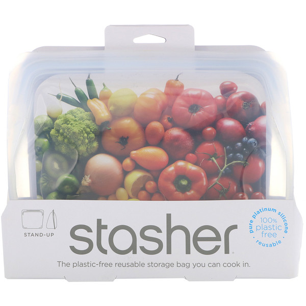 Stasher, Reusable Silicone Food Bag, Stand Up Bag, Clear, 56 fl. oz. (128 g)
