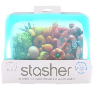 Stasher, Reusable Silicone Food Bag, Stand Up Bag, Aqua, 56 fl oz (128 g)