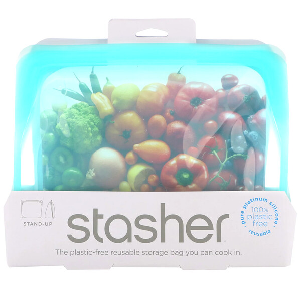Reusable Silicone Food Bag, Stand Up Bag, Aqua, 56 fl oz (128 g)