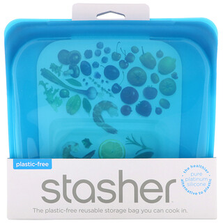 Stasher, Reusable Silicone Food Bag, Sandwich Size/Medium, Blueberry, 15 fl oz (450 ml)