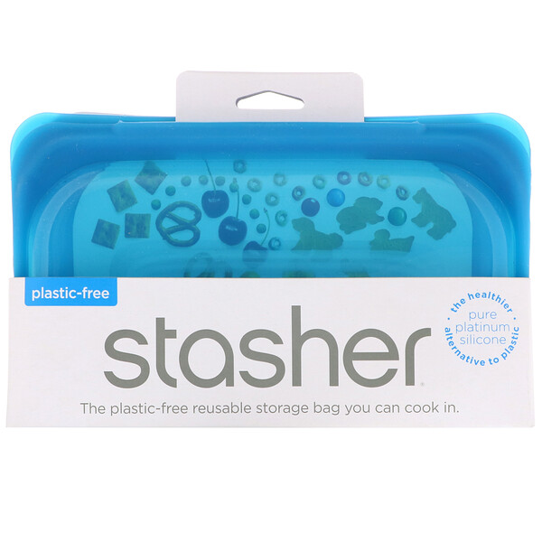 Stasher, Reusable Silicone Food Bag, Snack Size Small, Blue, 9.9 fl oz (293.5 ml)