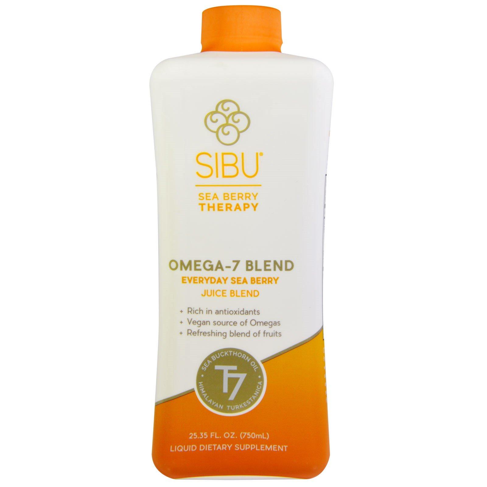 Sibu Beauty, Смесь омега-7, смесь с облепиховым соком для ежедневного приема, 25,35 жидкой унции (750 мл)