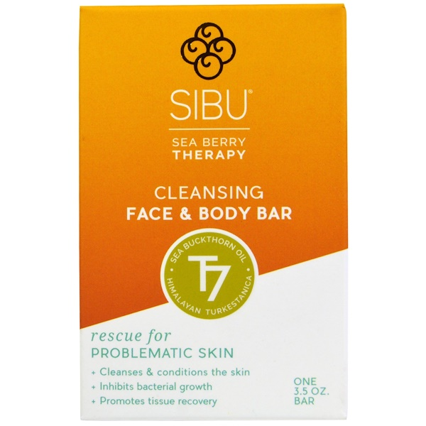 Sibu Beauty, Sea Berry Therapy, Cleansing Face and Body Bar, Sea Buckthorn Oil, T7, 3.5 oz