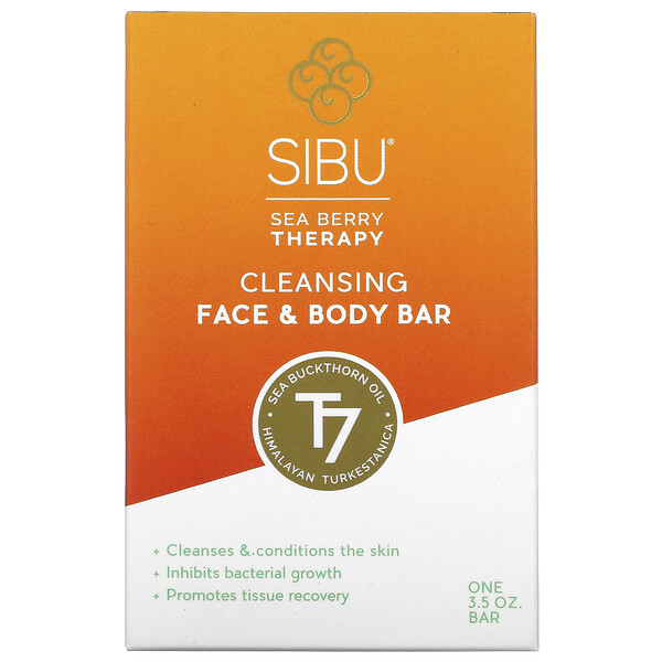 Sea Berry Therapy, Cleansing Face and Body Bar, Sea Buckthorn Oil, T7, 3.5 oz
