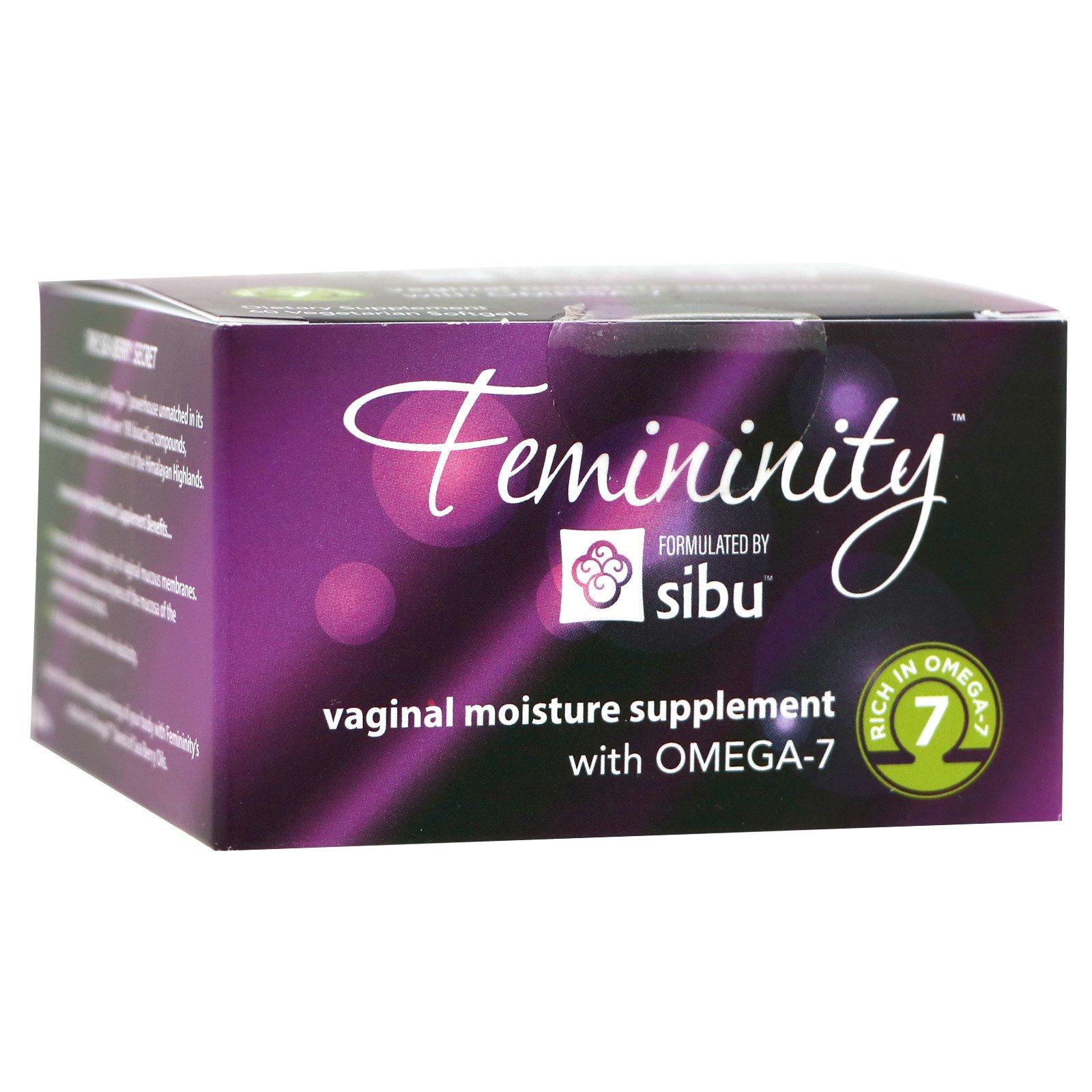 Sibu Beauty, Femininity, Vaginal Moisture Supplement with Omega-7, 60 Vegetarian Softgels