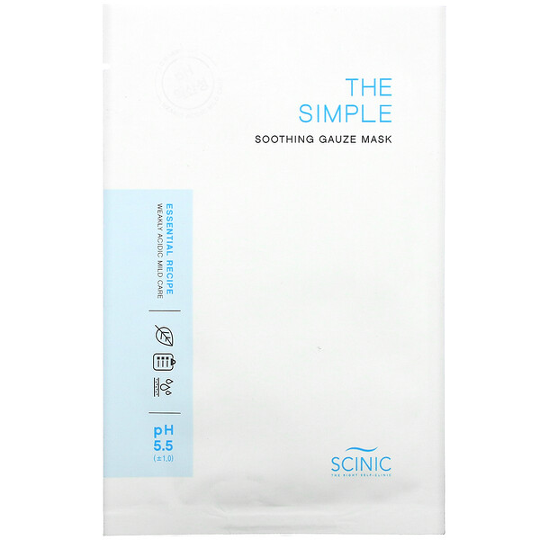 Scinic, The Simple Soothing Gauze Mask, pH 5.5, 1 Mask
