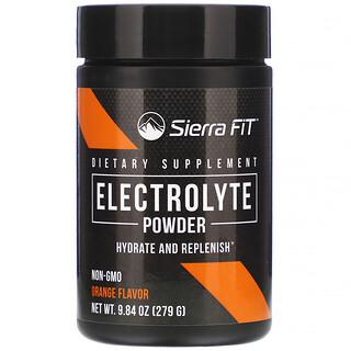 Sierra Fit, Électrolytes en poudre, 0calorie, Orange, 279g