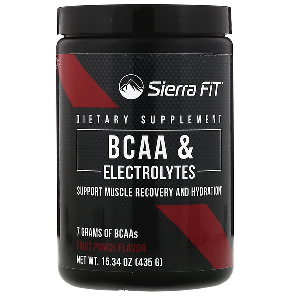Sierra Fit, BCAA & Electrolytes, 7G BCAAs, Fruit Punch, 15.34 oz (435 g)