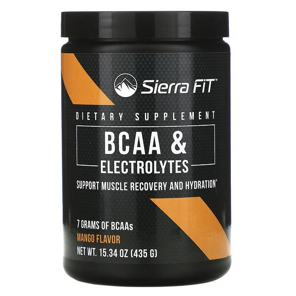 BCAA y electrolitos, 7g de BCAA, Mango, 435g (15,34oz)