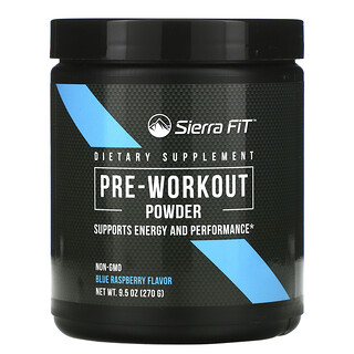 Sierra Fit, Pre-Workout Powder, Blue Raspberry Flavor, 9.5 oz (270 g)