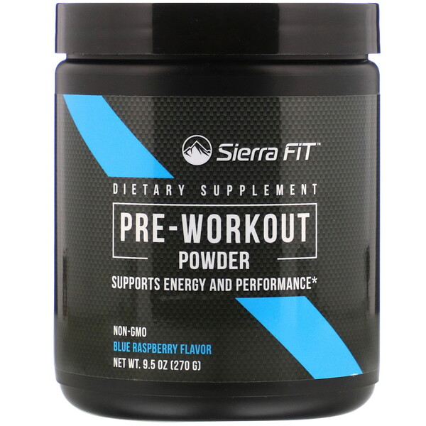 Pre-Workout Powder, Blue Raspberry, 9.5 oz (270 g)