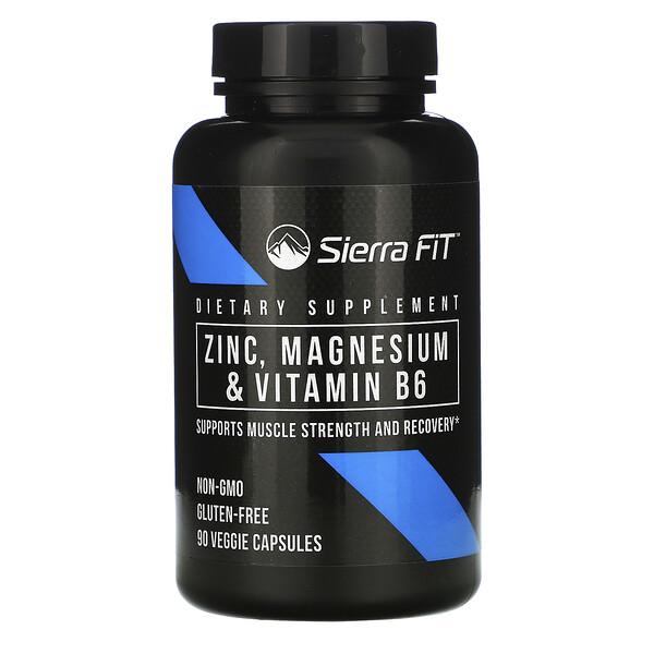 Sierra Fit, زنك، ومغنيسيوم، وفيتامين ب6، 90 كبسولات نباتية